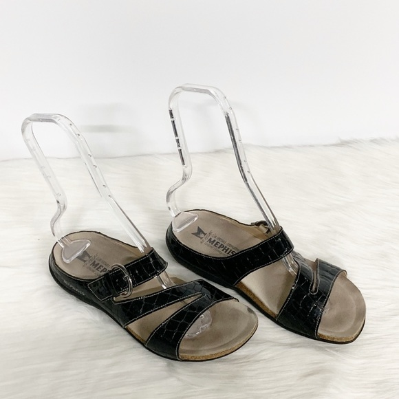 Mephisto Shoes - Mephisto | Black Strappy Slide-on Comfort Sandals
